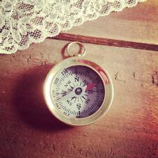 Vintage Style Mini Compass Pendant White Face Charm, Shiny Gold Brass