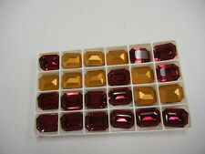 4 swarovski double cut brooch stones,20x15mm ruby color/foiled #4610