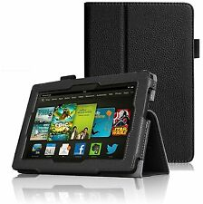 "BLACK LEATHER STAND CASE FOR AMAZON KINDLE FIRE HD 7"" INCH 2013 2ND GENERATION"