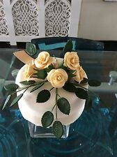 WEDDING CAKE SUGAR ROSE & LEAVES TOPPER IN DUST GOLD.More Colours Available 105