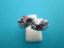 Gorgeous Silver Natural Amethyst And White Topaz Ring Size P 1/2, US 8 (rg1716)