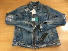 Amiri Men's Destroyed Distressed Denim Zip Up Jean Jacket Blue Size Small NWT