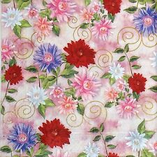 4 Single Party Paper Napkins for Decoupage Decopatch Craft Colorful Flowers