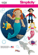 Simplicity Pattern 1131 STUFFED MERMAID, PIRATE, SHARK AND FISH toys pillows