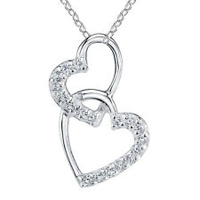Minxwinx Double Heart Sterling Silver & Cubic Zirconia Necklace Valentine Gift