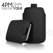 LEATHER PULL TAB SKIN CASE COVER POUCH FITS VARIOUS HTC MOBILES