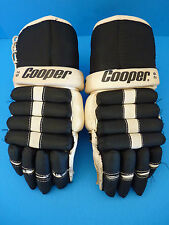 Vintage Black / White Cooper 29 Hockey Gloves - Leather Palms - Armadillo Thumb