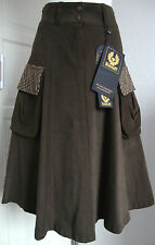 BELSTAFF Country SKIRT LADY donna gonna 100% COTONE MARRONE TG. 36 NUOVO con ETIKET