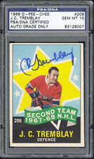 1968 O-Pee-Chee #206 J .C. Tremblay AS Autographed/Signed PSA/DNA 10 Gem Mint