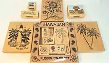 Rubber Stamps Assorted Lot Vacation Palm Trees Hawaii Lighthouse Flowers