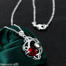 Gift Silver Plated Red Cubic Zirconia Hollow Heart Pendant Necklace Jewelry