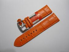 Uhrenarmband Leder Uhr Armband Kroko Print Watch Strap Leather Band orange 24 mm