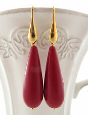 Orecchini con gocce corallo rosso in argento 925 pl. oro 18 K gioielli bijoux