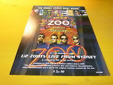 U2 - Publicité de magazine / Advert ZOO LIVE FROM SYDNEY !!!!!!!