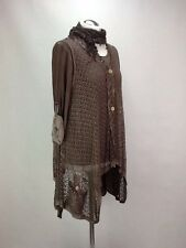 M-XL Made In Italy Lagenlook Brown 3piece Set, Tunic Button Top An Scarf