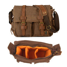 "Canvas DSLR SLR Camera Shoulder Bag Padded Insert 14"" Laptop Daypack Rucksack N"