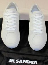 JIL SANDER SHOES WHITE SUEDE CALFSKIN LOW PROFILE LOGO EMBOSS TRAINER 8.5 41 NEW