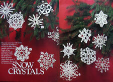 Crochet Patterns Only ~ 14 Snow Crystal Snowflake Christmas Ornaments, Beaded