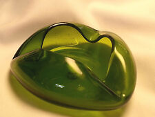 Vintage Art Glass Ashtray Green Murano Style Triangle Mid Century Modern 7""