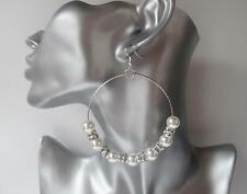 Big & fab large pearl bead & diamante silver tone big hoop drop earrings *NEW*