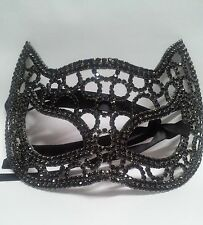 Rhinestone Pave Cat Eyes Venetian Mask Black Hematite Metal Halloween W20HM