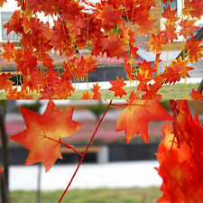 1X Artificial Red Autumn Maple Leaf Garland Vine For Wedding Party Home Decor