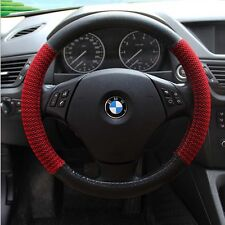 "Black red 38cm 15"" Universal PU Leather Auto Car Steering Wheel Cover accessory"