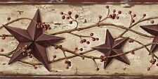 Wallpaper Border Rust Red Tin Stars & Rosehip Trail on Beige Crackle Background