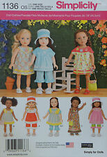 """Simplicity 1136 Sewing PATTERN 18"""" Girl DOLL CLOTHES 7 Styles AMERICAN SELLER"""
