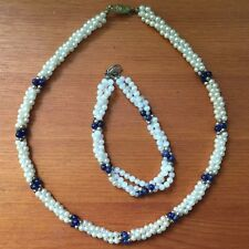 Jersey Pearl Necklace and Bracelet with blue Lapis beads three strand twist.
