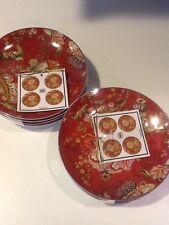 222Fifth Gabrielle Red 8 New Appetizer Plates