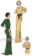 1935 Mabel Evening Dress, Draped Neckline, Bust 36
