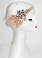 Or rose nude rose blush feather headband 1920s great gatsby garçonne vintage 41