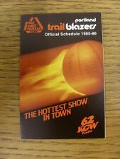 1985/1986 Fixture Card: Basketball - Portland Trail Blazers (fold out style). An
