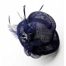 navy FASCINATOR HAIR feather clip FLOWER HATINATOR NM 054 WEDDING mini top hat