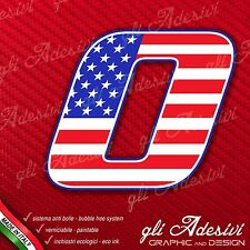 Adesivo Stickers NUMERO 0 moto auto cross gara USA Star & Stripes 5 cm