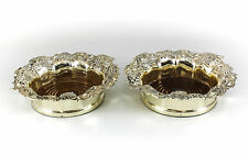 Pair Corbell & Co. Silverplate & Wood Wine Coasters, c1950 Grape Vine Pattern