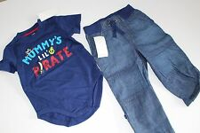 Gymboree Stripes & Anchor Boys Denim Pants Shirt Top Pirate Size 18-24 M NWT