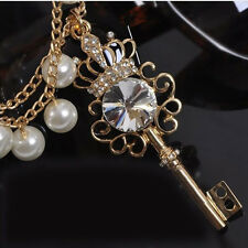 Multi Layer Pearl Crystal Rhinestone Crown Key Pendant Necklace Sweater Chain