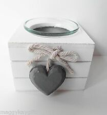 White or Grey Wooden Cube Tea Light or Votive Candle Holder - Heart Design