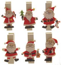 Puckator Novelty Father Christmas Santa Mini Pegs Pack of 6 Decor Crafts Home