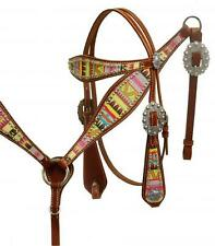 Showman Aztec Design Leather Headstall and Breast Collar Set! HORSE TACK!