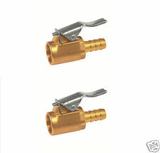 2 X EURO TYPE SINGLE CLIP ON TYRE VALVE CONNECTOR OPEN END 1/4""
