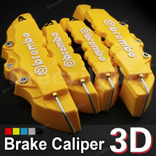 4 Yellow  Brembo Style 3D Disc Front Rear Brake Calipers Cover Universal Kits