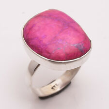 925 Sterling Silver Ring Size US 8.5, Pink Sugilite Handcrafted Jewelry CR2572