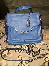 COACH MADISON SADIE SAFFIANO LEATHER 2 TONE BLUE 25167 SATCHEL CONVERTIBLE BAG