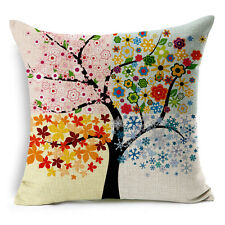 Vintage Linen Hemp Cotton Couch Sofa Cushion Cover Pillow Maple Tree 45X 45 cm