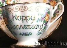 Queen Anne England Tea Cup and Saucer HPT Happy Anniversary Candles Roses Teacup