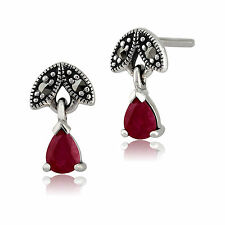 Sterling Silver 0.39ct Ruby & Marcasite July Stud Earrings