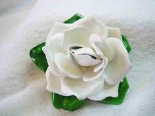 Vintage White Celluloid Gardena Flower Brooch